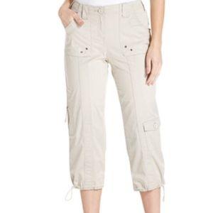 Khaki cropped cargo capri pants